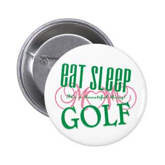 eat sleep Golf Mom Pinback Button