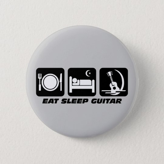 Eat sleep guitar 6 cm round badge