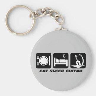 Eat sleep guitar key ring