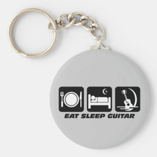 Eat sleep guitar key chain