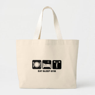 eat sleep gym large tote bag