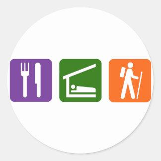 Eat Sleep Hiking Classic Round Sticker