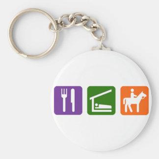 Eat Sleep Horseback Riding Basic Round Button Key Ring