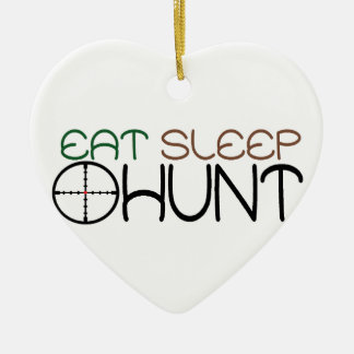 eat, sleep, hunt christmas ornament