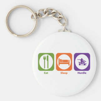 Eat Sleep Hurdle Basic Round Button Key Ring