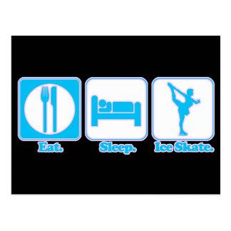 eat sleep ice skate postcard