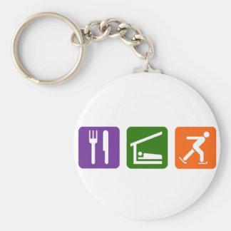 Eat Sleep Ice Skating Basic Round Button Key Ring
