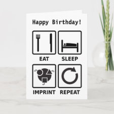 Eat, sleep, imprint, greetings card