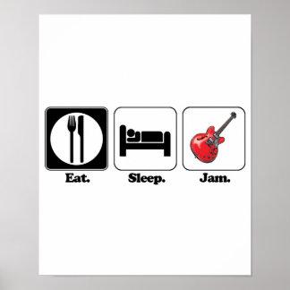 eat sleep jam guitar poster