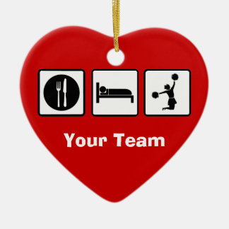 Eat Sleep Jump Cheerleader Heart Shape Decoration Ceramic Heart Decoration