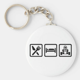 Eat sleep Kart Basic Round Button Key Ring