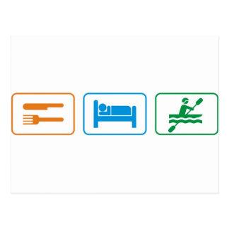 Eat sleep kayak postcard