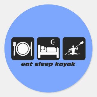 eat sleep kayak round sticker