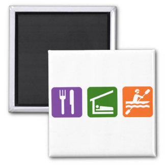 Eat Sleep Kayaking Square Magnet