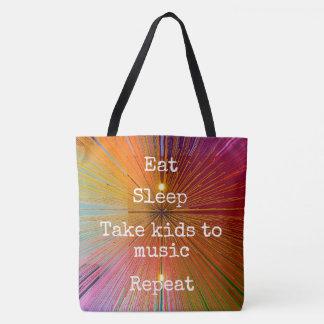 """Eat. Sleep. Kids to Music. Repeat."" quote orange Tote Bag"