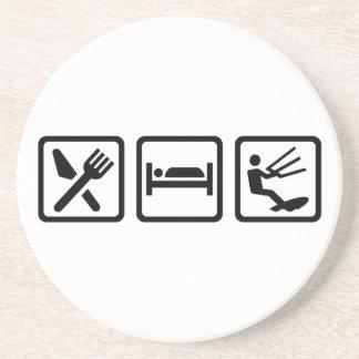 Eat sleep Kitesurfing Sandstone Coaster