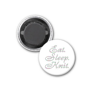 Eat. Sleep. Knit. (small magnet) 3 Cm Round Magnet