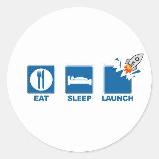 Eat Sleep Launch Round Stickers