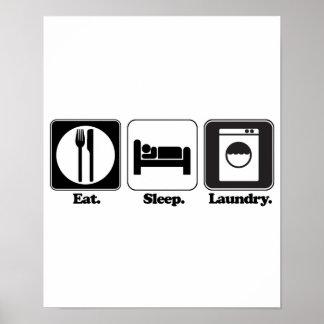 eat sleep laundry poster