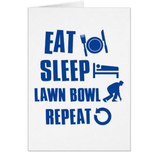 Eat sleep lawn bowl greeting card