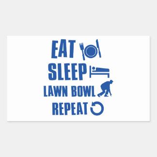 Eat sleep lawn bowl rectangular stickers