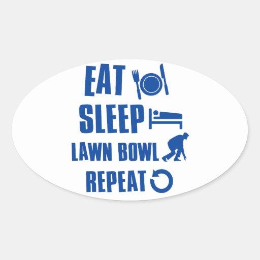 Eat sleep lawn bowl oval sticker