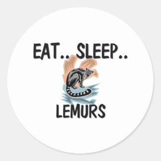 Eat Sleep LEMURS Classic Round Sticker