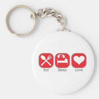 Eat Sleep Love Basic Round Button Key Ring