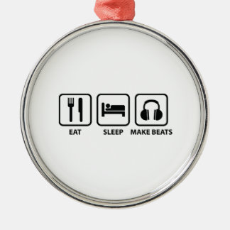 Eat Sleep Make Beats Silver-Colored Round Decoration