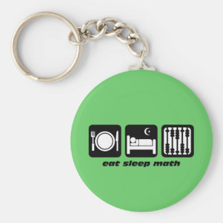 eat sleep math basic round button key ring