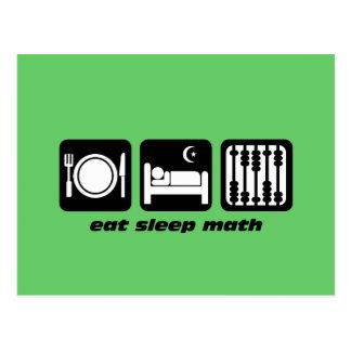 eat sleep math postcards