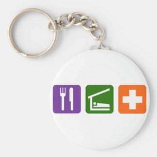 Eat Sleep Medical Basic Round Button Key Ring