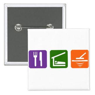 Eat Sleep Metal Detector 15 Cm Square Badge