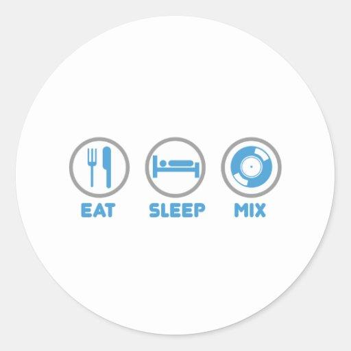 Eat, Sleep, Mix Again - DJ Disc Jockey Music Deck Round Sticker