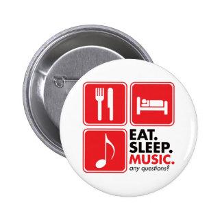 Eat Sleep Music - Red 6 Cm Round Badge