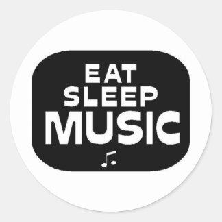 Eat Sleep Music Round Sticker