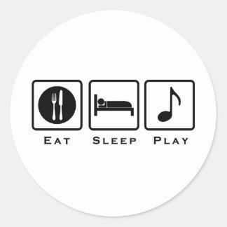 eat sleep music round stickers