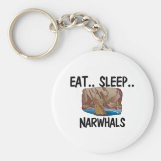 Eat Sleep NARWHALS Basic Round Button Key Ring