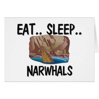 Eat Sleep NARWHALS Card