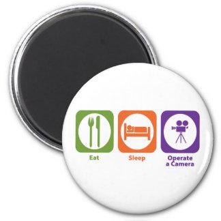 Eat Sleep Operate a Camera 6 Cm Round Magnet