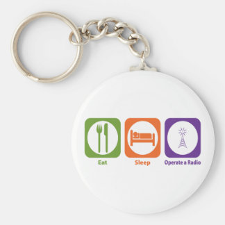 Eat Sleep Operate a Radio Basic Round Button Key Ring