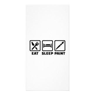 Eat sleep paint photo card template