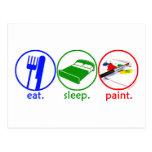 Eat Sleep Paint Post Cards