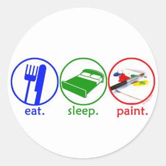 Eat Sleep Paint Round Sticker