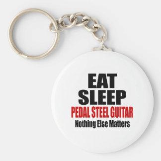 EAT SLEEP PEDAL STEEL GUITAR BASIC ROUND BUTTON KEY RING