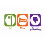 Eat Sleep Perform Speech Therapy Postcards