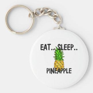 Eat Sleep PINEAPPLE Basic Round Button Key Ring