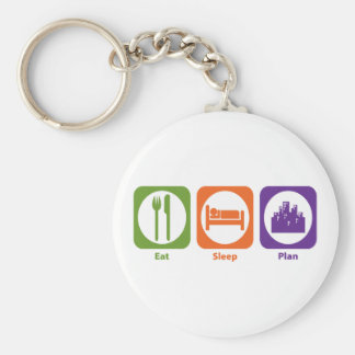 Eat Sleep Plan Basic Round Button Key Ring
