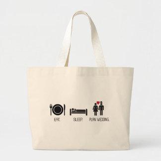 eat.sleep.plan wedding large tote bag