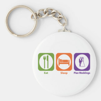 Eat Sleep Plan Weddings Basic Round Button Key Ring